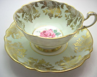 Paragon  Tea cup And Saucer, Mint Green with gold tea cup set, Antique 1940's Paragon Gold scroll with pink rose tea cup set