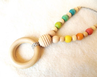 All Natural Wooden Beads Nursing Necklace Teething Ring Organic Baby shower gift