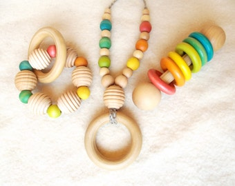 Wooden Teething Toys | Wood Baby Rattle | Nursing Necklace | Teething Necklace | Baby Shower Gift | Wooden Beads Baby Toy | Organic Baby