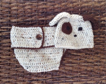 Crochet puppy dog hat and diaper cover