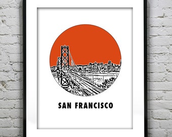 San Francisco Poster Art Skyline Print Bay Bridge Round Version 8