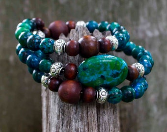 Chrysocolla Bracelet-Gemstone Bracelet-Men's Bracelet-Women's Bracelet-Unisex Bracelet-Cuff Bracelet-Adjustable Bracelet-Reiki Jewellery