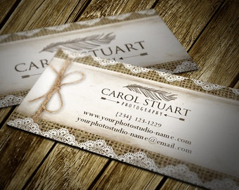 Burlap and lace business cards with logo included - layered PSD files - editable digital cards - instant download