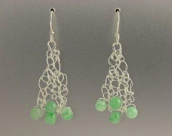Knit Fine Silver with Jade Earrings