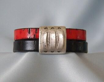 Red & Black Leather Bracelet