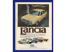 "Lancia Car Original 1977 Vintage Color Print Ad - Yellow Four-Door Sedan; Italian Automobile ""The Iltelligent Alternation"" Fiat"