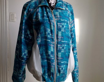 Turquoise and White Silk Windbreaker Jacket - Large