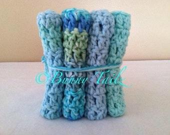 Handmade Crochet Wash Cloths Cotton Dish Cloths Mint Green Blue Aqua