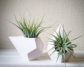 Geometric MINI planters, set of teardrop air plant holders, faceted containers, pair of mini planters