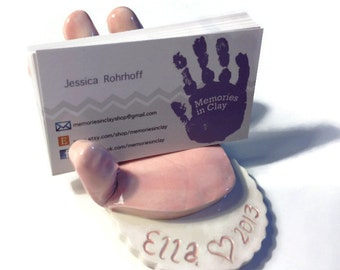 Baby or Child Handprint Business Card Holder