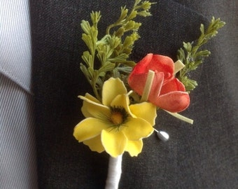 Wedding Boutonnière Grooms Boutonnière Groomsmen Boutonnière Flower Boutonnière Yellow Orange Boutonniere