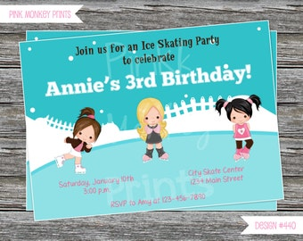 DIY - Girl Ice Skating Birthday Party Invitation # 440 - Coordinating Items Available