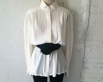 The Orlando Vintage 80s Blouse Ivory Oversized Pleated Shoulder x Cuff Button Down LS Blouse S, M, L: Vintage Women's Blouse, Top, Shirt
