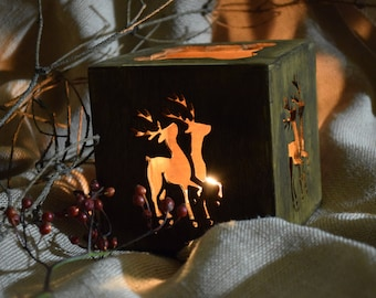 Christmas candle holder Deer Rustic decor Holiday decor Christmas centerpiece Wood decoration reindeer Christmas candlestick Christmas gift