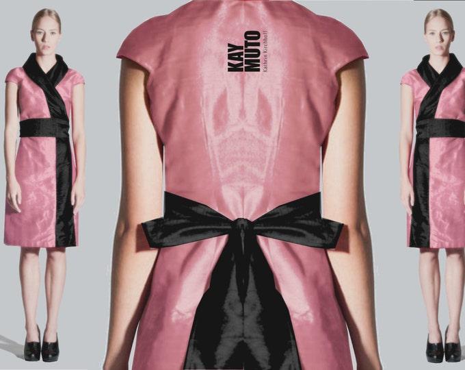 silk wrap dress in kimono style: rose black colored bridemaid dress