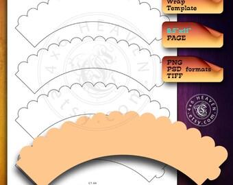 Cupcake Wrap DIY Digital Template CT-85 - layered psd, transparent png, Instant Download