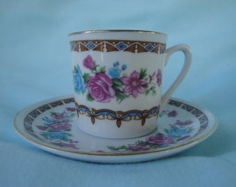 Dainty Demitasse/Expresso Cup and Saucer/Blue and Red Roses