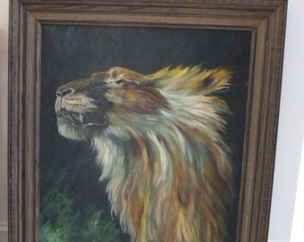 SALE majestic circa 1970 amazing fine art oil painting of a lion signed By Wanda Strachan 30 x 36