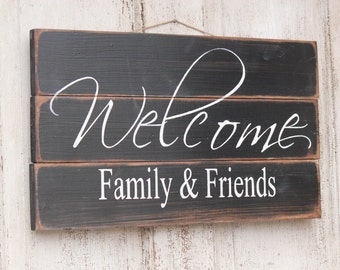 Welcome Family and Friends wood sign Rustic front door welcome sign & Front door signs | Etsy Pezcame.Com