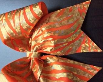 Orange and Gold Hologram animal print Cheer Bow.