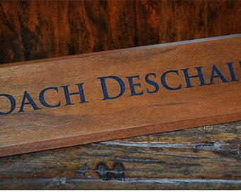 Items similar to Wood Name Plate Solid Oak Custom Made