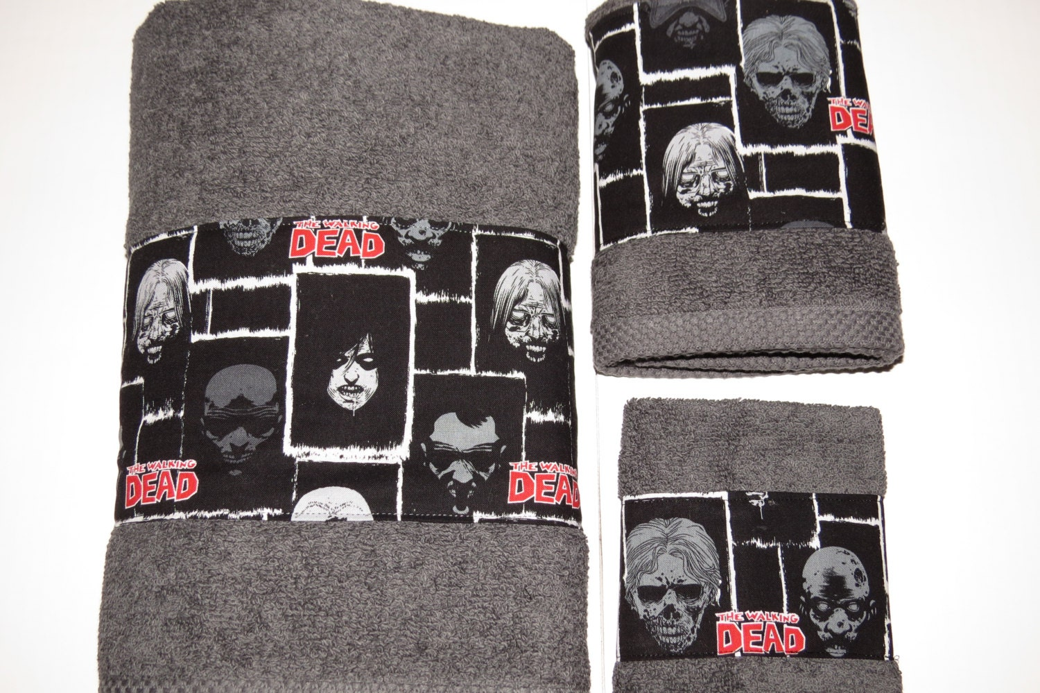 Custom bathroom towel set the walking dead towel set grey for Red and gray bathroom sets