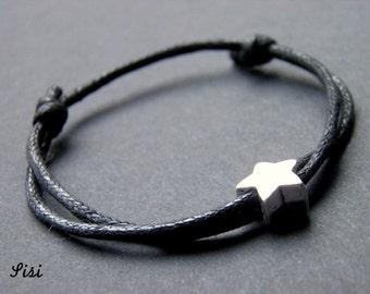 Bracelet star on a black cord
