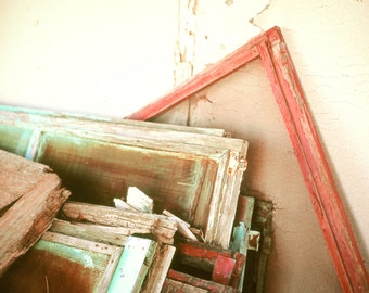 Rustic Art, window screens, distressed wood, rural decay, red, aqua, vintage, rustic, architecture, Country Home Decor, Photography