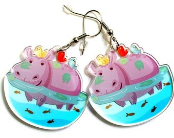 Cute Hippo earrings, hippopotamus, animal lovers, african animals, surgical steel, quirky accessories, fun earrings, kawaii