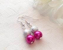 Hot Pink Pearl Earrings Pink Pearl Earrings Bridesmaid Jewelry Wedding Bridesmaid Gift Earrings