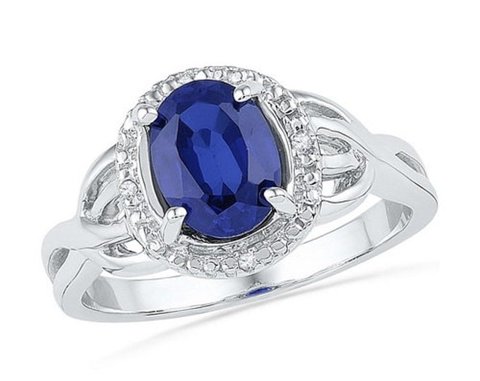 1.65 Synthetic Sapphire & Diamond Sterling Silver Ring ~ Great Gift ~ Free Shipping