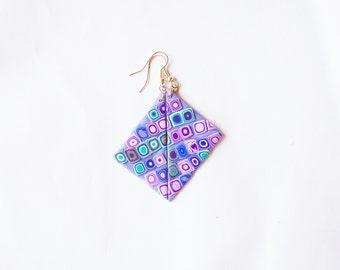 Polymer clay earrings OOAK earrings Violet earrings Blue earrings Dangle earrings Geometric earrings Triangle earrings Colorful earrings