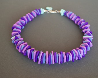 Polymer clay necklacе Choker necklace Boho necklace Purple necklace Pastel necklace Beaded necklace Grey Mint Casual Nickel free Spring