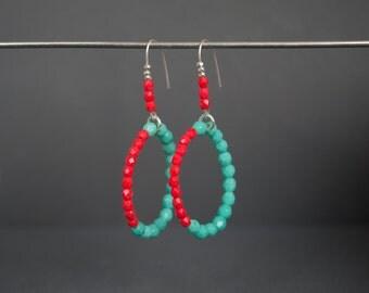 Hoop earrings Glass earrings Silver earrings Argentium earrings Dangle earrings Round earrings mint coral red earrings Beaded Drop Spring