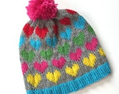 ANNIE: Handknit hat, hearts, hot pink, gray, turquoise, pompom, large child/teen/adult size