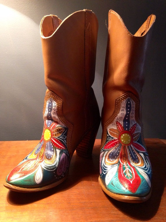 Cool A Pair Of Vintage Cowboy Boots And Hand Painted Box Purse The Light Brown Cowboy Boots Are By Acme Boots Are Marked Size 4C The Box Purse With Hinged Lid Is Natural Finished With A Satin Gloss It Features A Hand Painted Owl And