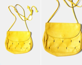 yellow leather cut out small bag 1980s