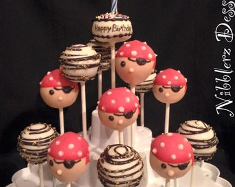 24 PIRATE theme Cake Pops, Boy Pirate, Girl Pirate, treasure map, Pirates of the Carribean