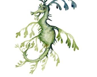 Watercolor Painting Seahorse Leafy Ocean Creature Archival Print 11x14