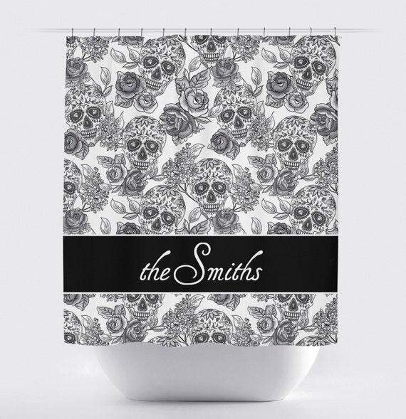 Sugar Skull Shower Curtain - Dia de Meurtos Shower Curtain - Day of ...