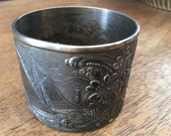 Antique James W. Tufts Silverplate Embossed Cup