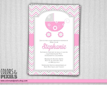 Baby Shower Invitation, Baby Stroller, Carriage, Baby Shower Printable Invitation, Printable Invitation, Baby Shower, Invitation, Invite