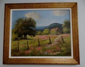 Vintage Oil on Canvas Painting Texas Landscape Pink Wildflowers