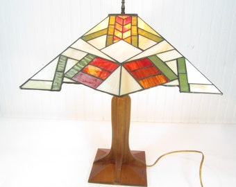 Tiffany style  lamp, mission style lamp, arts and craft, Frank Lloyd Wright,wood lamp,vintage lamp,antique lamp,rustic decor,modern decor,