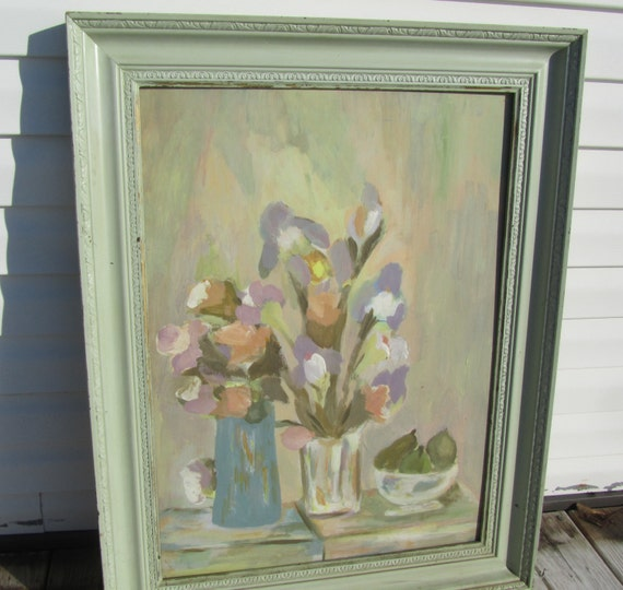 Shabby chic decor flower painting water color painting wall decor