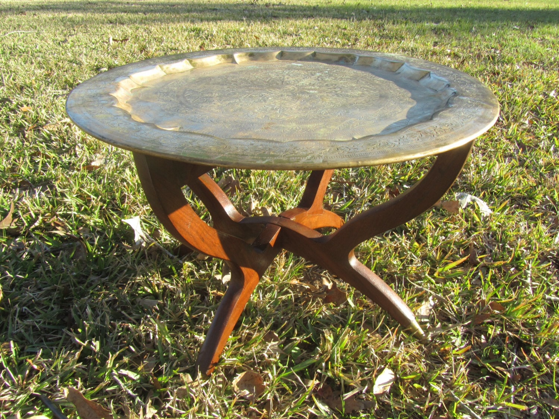 Tablebrass table oriental decor asian decor brass for Decoration table orientale
