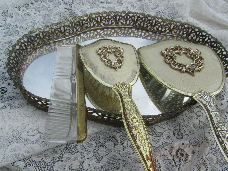Vintage Vanity Set Mirror tray Vintage Hand Mirror Hair