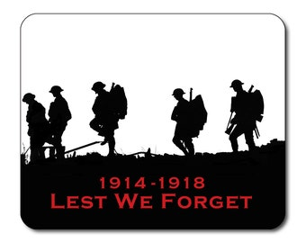 World War One Commemorative Mouse Mat Mouse Pad Lest We Forget