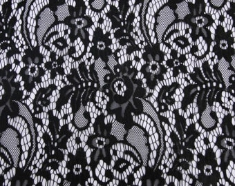 Black Embroidered Ella Pattern Nylon Lace Fabric For Dresses, Overlays, And More - Style 560