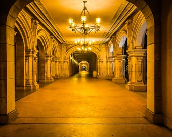 Hallway at night, in Balboa Park, San Diego, California - Urban Photography Fine Art Print or Wrapped Canvas